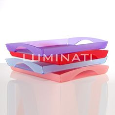 Frosted acrylic trays, available in various colours. Designed and manufactured in the UK.