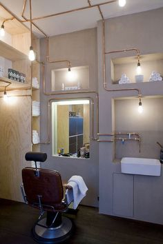 Ard Hoksbergen s design. Petra van Rhoon s barber salon good work Barber Shop Interior, Retail Interior, Shop Interior Design, Retail Design, Salon Openings, Barber Shave, Copper Tubing, Copper Pipes, Lokal