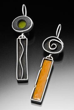 Earrings sterling silver, lake stone, enamel