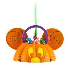 Mickey Mouse Ear Hat Pumpkin Light-Up Ornament