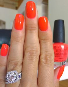 OPI - No Doubt About It - bright orange nails - looks more pink in the bottle than when applied