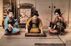 Playing on Samisen, Yokin and Kokin  Hand colored japanese albumen print around 1900