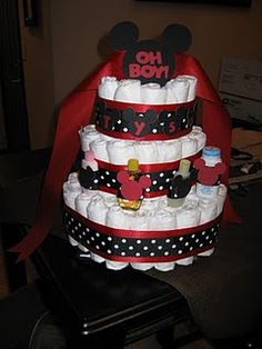 Mickey Mouse diaper cake!- How cute is this?  Especially since I know a bazillion pregnant people right now. lol