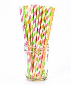 Another great find on #zulily! Neon Stripe & Polka Dot Straw Set by PhotoBoothgirls #zulilyfinds