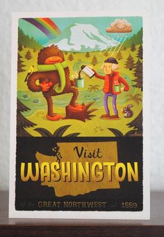 Bigfoot and George Washington on one poster. Washington State Tourism, Seattle Washington, George Washington, 4x6 Postcard, Postcard Printing, Postcards, Old Poster, Id Travel, Travel Tips