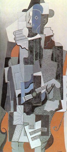 Pablo Picasso, 1918, Arlequin jouant de la guitare (Harlequin).JPG