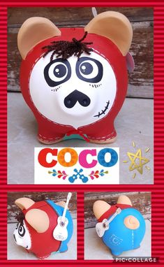 Coco Pig Bank, Personalized Piggy Bank, Mini Pigs, Crafts For Kids, Diy Crafts, Cute Piggies, 9th Birthday, Valentine Crafts, Decoupage