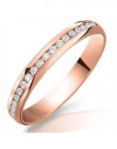 Alliance de mariage en or rose et diamants