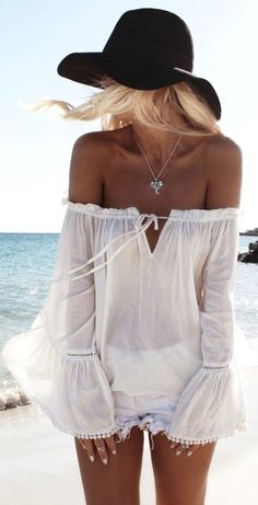 Helen Janneson Bense showing off the perfect boho beach outfit, white off the shoulder top, denim cut offs and black hat