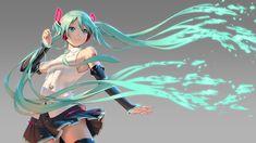 Anime 1920x1080 Vocaloid Hatsune Miku green hair twintails anime girls thigh-highs