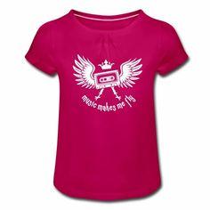 Tonony.com | ✫ ELECTRO ✫ T-Shirt ✫     - Mädchen-T-Shirt mit Raffungen  -  Aber auch andere coole Prints für Damen, Herren, Kinder und Babys auf zahlreichen verschiedenen Produkten.     ✫ ELECTRO ✫ T-Shirt ✫ ✫ music makes me fly ✫ (eine Krone aufgesetzt auf einer Musikkassetten mit Flügeln) Das T-Shirt ist für alle, die das Gefühl kennen, dass Musik beflügelt.