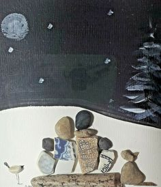 Christmas present pebble picture family of 4 gift beach pottery grandparent gift #ContemporaryArt Family Pictures, Art Pictures, Handmade Christmas Presents, Family Of 6, Nursery Pictures, Pebble Pictures, Grandparent Gifts, Beach Stones, Pebble Art