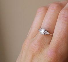 0.50 Carat Emerald Cut Diamond Ring, 18 Carat White Gold Diamond Ring, Anniversary Ring by ArahJames on Etsy https://www.etsy.com/listing/243851959/050-carat-emerald-cut-diamond-ring-18