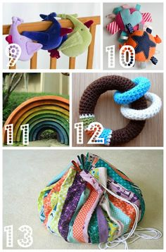 So Many Tutorials: 101 links to D.I.Y. baby gifts compiled by Kimberly Mueller on bugaboominimrme.blogspot.com (19 Aug. 2012). I like number 11, a tutorial on how to make wooden rainbow arch blocks on prudentbaby.com.