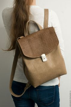 Купить Рюкзак бежевый кожаный коричневый из натуральной кожи под А4 - бежевый, рюкзак