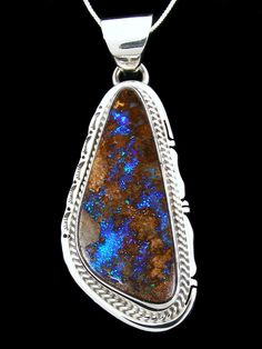 Native American Indian Jewelry Boulder Opal Pendant
