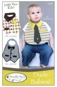 FABRIC PATTERN - VH-P189 DUDE BABIES, tie bib pattern, baby boy