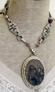 'happy couple' vintage assemblage necklace with tintype and rhinestones by The French Circus on Etsy