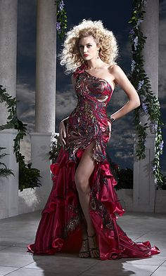 red peacock dress