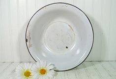Oversized Black on White EnamelWare Deep Basin  by DivineOrders, $23.00