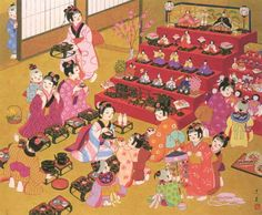 Hinamatsuri: It´s a japanese dolls festival or girls day, held on March Happy Girls Day, Girl Day, Japanese Art Styles, Japanese Artwork, Japan For Kids, Hina Matsuri, Hina Dolls, Japan Country, Japan Landscape