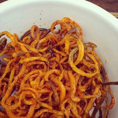 Crispy smoked paprika sweet potato spiralised fries. Made in the @tefal.uk actifry but also work well in the oven.