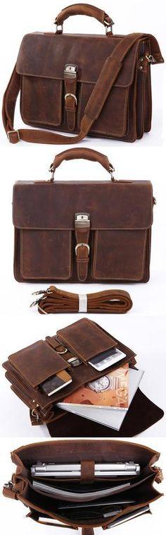 """Men's Vintage Crazy Horse Leather Briefcase, Messenger Bag, 14"""" 15"""" Laptop 15"""" MacBook Bag"""