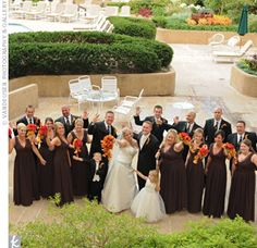 The men wore classic black tuxedos with brown and black ties. Roseann's bridesmaids coordinated with the autumn color scheme by wearing sleeveless chocolate truffle gowns embellished with copper and brown crystals along the neckline and bodice. The flower girl, Shawn's half-sister, wore a sweet dress with an ivory satin bodice and full-length tulle ...