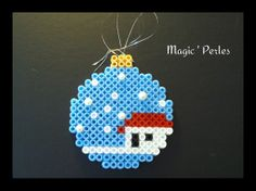 Christmas bauble ornament hama perler by Alice Tobbi
