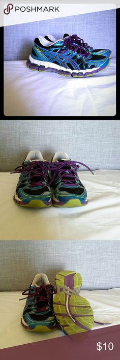 Asics Gel Kayano 20 running shoe Blue, black, and purple running shoe. 6 used condition Asics Shoes Sneakers
