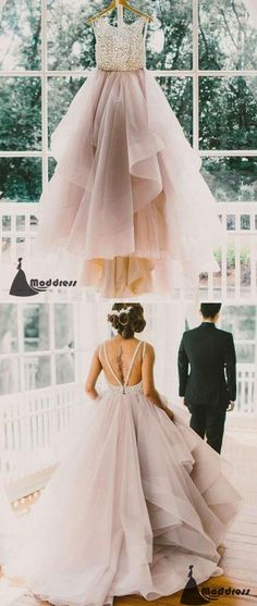 Unique Long Prom Dress Scoop Backless Tulle Lace Wedding Dress Formal Dress,HS468 #moddress #fashion #shopping #promdresses #eveningdresses #prom #dresses