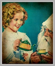 Shirley Temple having tea with Santa Claus (Look Magazine -1937)