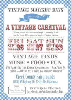Vintage Market Days - A Vintage Carnival Bringing the Vintage experience to you... Sept. 26-28, 2014 Creek County Fairgrounds - 15 minutes from downtown Tulsa!