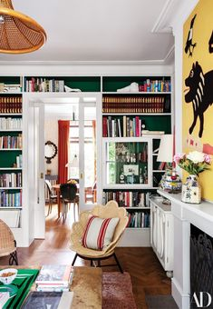 Those green and white bookshelves! Beata Heuman's whimsical London living room with green built-in bookshelves and a rattan seashell chair by Soane Britain. London Living Room, My Living Room, Home And Living, Living Room Decor, Modern Living, Small Living, Shelves Around Fireplace, Swedish Interiors, Art Interiors