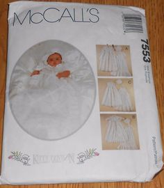 Christening Gown Infant Dress McCall's Sewing Pattern 7553 Kitty Benton Bonnet #McCalls