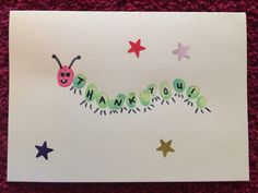 Fingerprint caterpillar home made DIY card with stickers! Fingerprint caterpillar home made DIY card with stickers! Teacher Appreciation Cards, Teacher Thank You Cards, Thank You Cards From Kids, Kids Cards, Baby Crafts, Toddler Crafts, Fingerprint Cards, Presents For Teachers, Handmade Teachers Day Cards