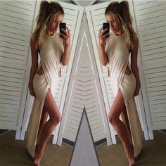 On Line Buy Sexy Women's Slit Long Dress Short Sleeves Hollow Out Clubwear HML-LH0079.jpg http://www.lover-fashion.com/2015-New-Clubwear-c552.html