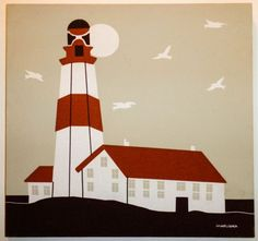 MARUSHKA COLOR SILKSCREEN OF LIGHTHOUSE/ATTACHED BUILDINGS/GULLS, Mid-Cent Mod