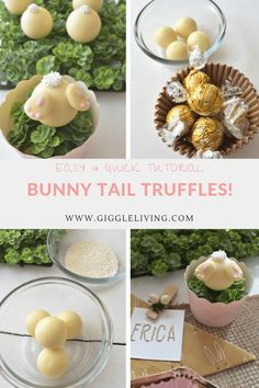 How to make bunny tail truffles for your Easter holiday celebrations! See the easy tutorial! #easter #diy #truffles #bunnytails #semihomemade #recipes
