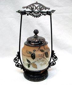 ANTIQUE BARBOUR SILVERPLATE & WAVECREST GLASS CASTOR