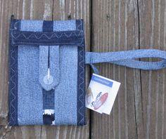 Denim Cell Phone pouch, cellphone Bag, Phone sleeve, Cotton Pouch, gadget case. fabric phone wallet.