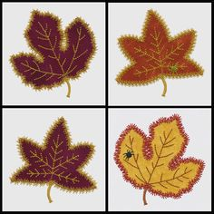 Set of Rustling Leaves #3 applique machine embroidery designs. Instant download now available.