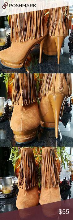 "Platform Booties Privileged Wynn Brown Fringe Studded Triple Platform Ankle Boots.  Gently used.  Heel 6"" Platform 1.5"" privileged  Shoes Ankle Boots & Booties"