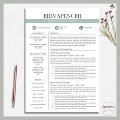 Teacher Resume Template, Teacher Cv Template, CV Template Word, CV Design  Word,