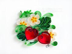 quilling , quilling paper, paper art, art, love, design, love heart, hearts, quilling art, quilling paper art, artwork, love art, anniversary, wedding, strawberry, flowers, quilling love, etsy