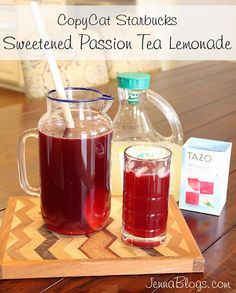 Sweetened Passion Tea Lemonade {Copycat Starbucks Recipe} -- Great served with ice in a punch bowl!