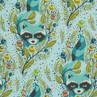 Acacia - Raccoon in Sky. $18 metre. These rural raccoons are bold urban adventurers, bandits seasoned for the city. Animals with a taste for French fries and jam ...!