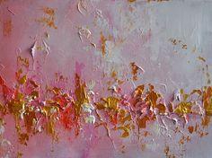 "Original Abstract Painting Pink Metallic Gold Heavy Textured Art 12x16"" SALE"