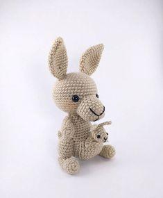 PATTERN: Crochet kangaroo and baby pattern  amigurumi