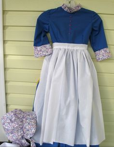 Trek, Pioneer, Prairie  Dress, Apron & Bonnet -Women's Sizes. $70.00, via Etsy.